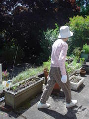 mom in gardening garb.JPG